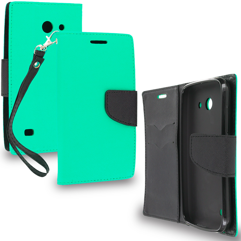 Huawei Tribute Fusion 3 Y536A1 Mint Green / Black Leather Flip Wallet Pouch TPU Case Cover with ID Card Slots