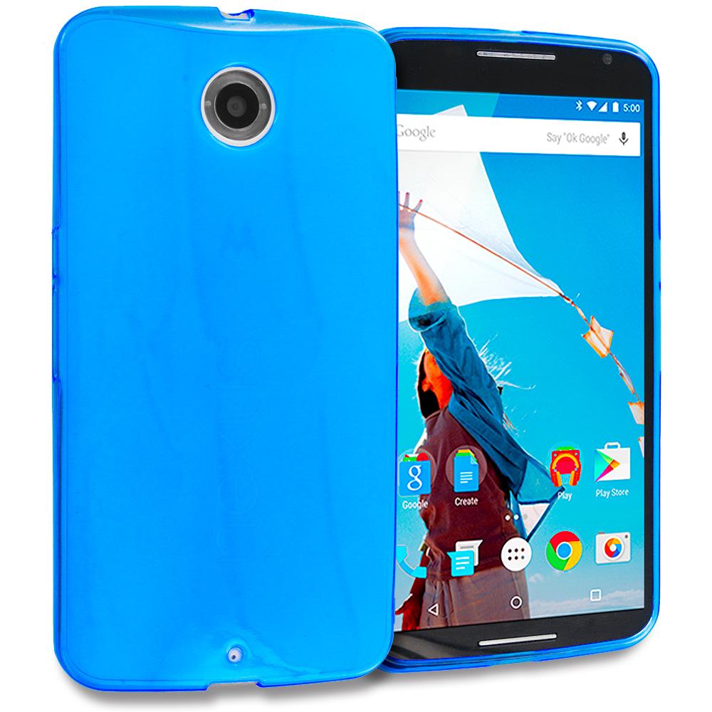 Motorola Google Nexus 6 Blue TPU Rubber Skin Case Cover
