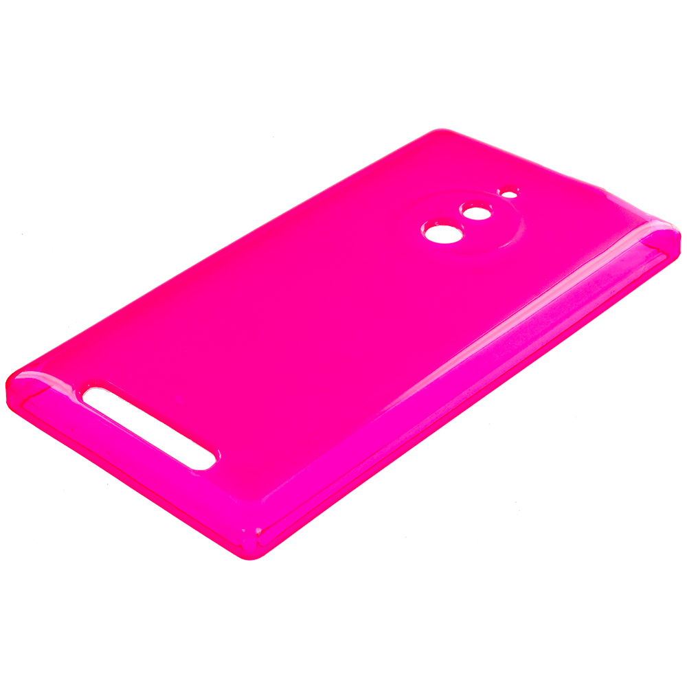Nokia Lumia 830 Hot Pink TPU Rubber Skin Case Cover