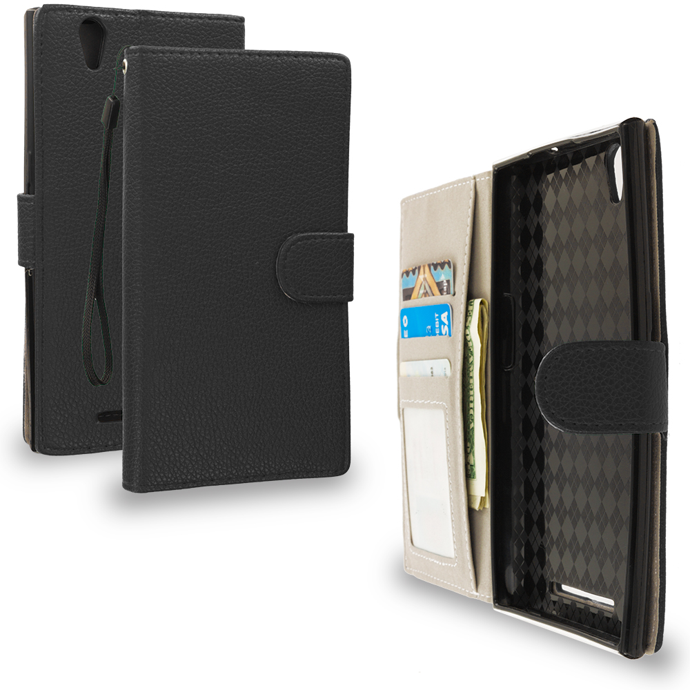 ZTE Zmax Black Leather Wallet Pouch Case Cover with Slots