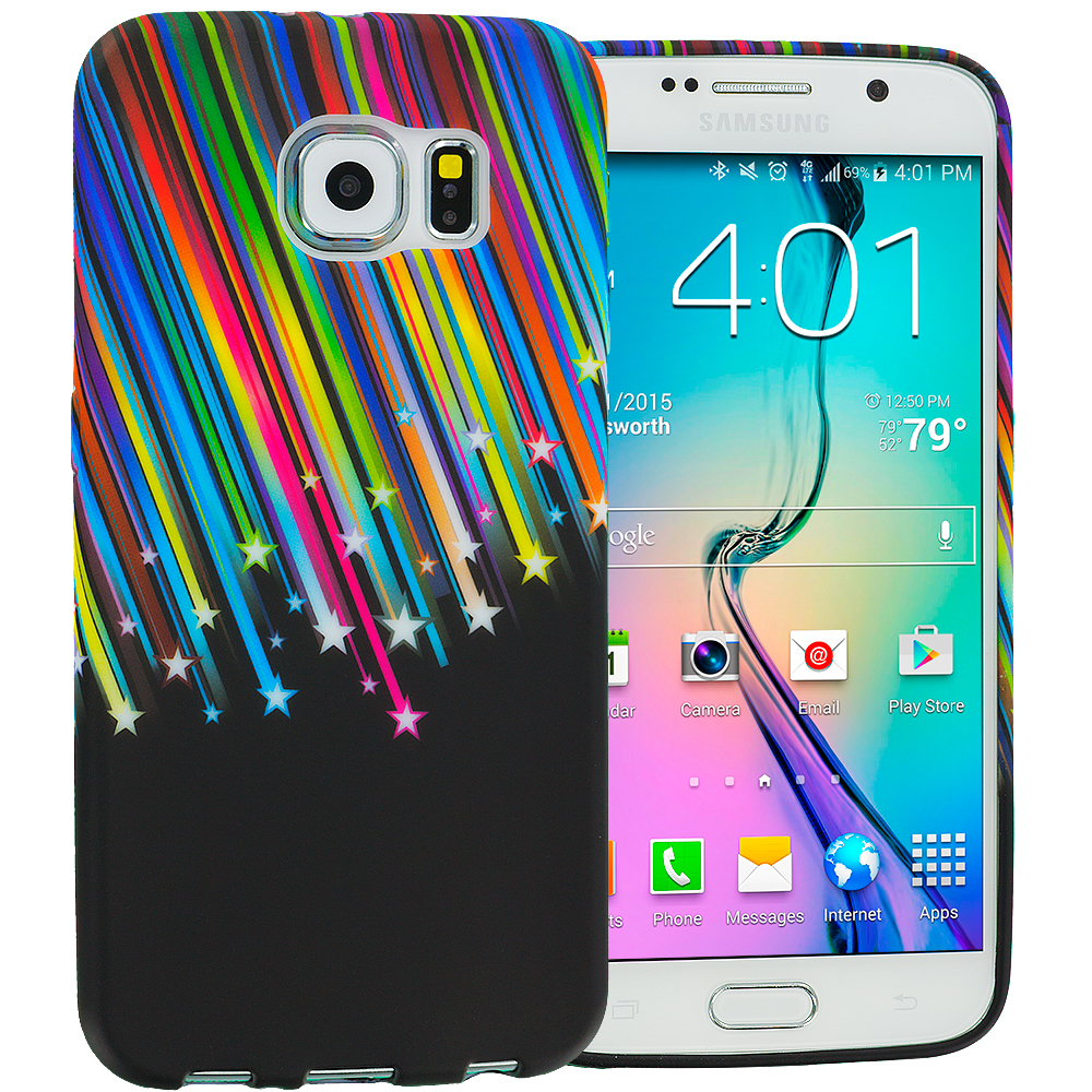 Samsung Galaxy S6 Rainbow Star TPU Design Soft Rubber Case Cover