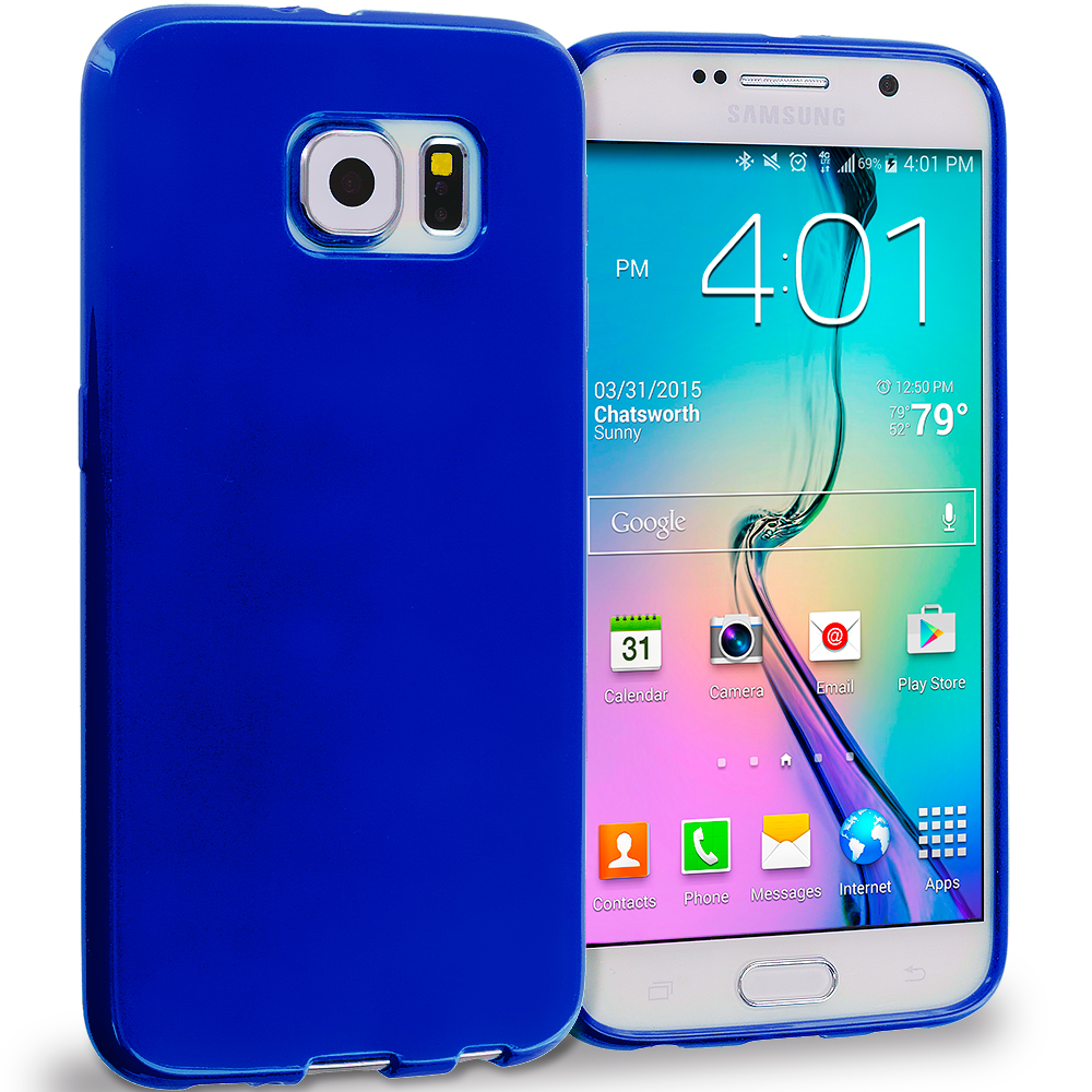Samsung Galaxy S6 Blue Solid TPU Rubber Skin Case Cover
