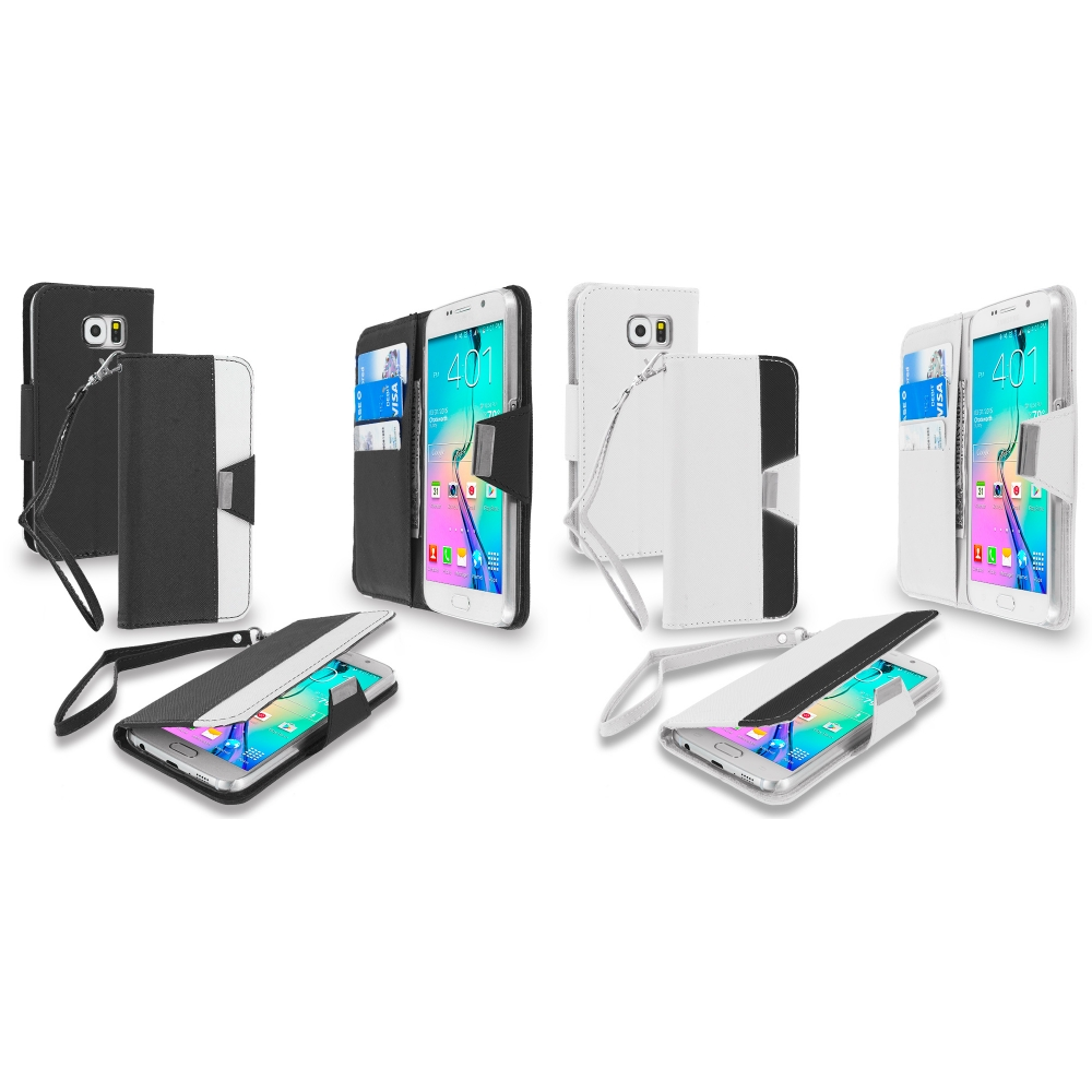 Samsung Galaxy S6 Combo Pack : Black Wallet Magnetic Metal Flap Case Cover With Card Slots