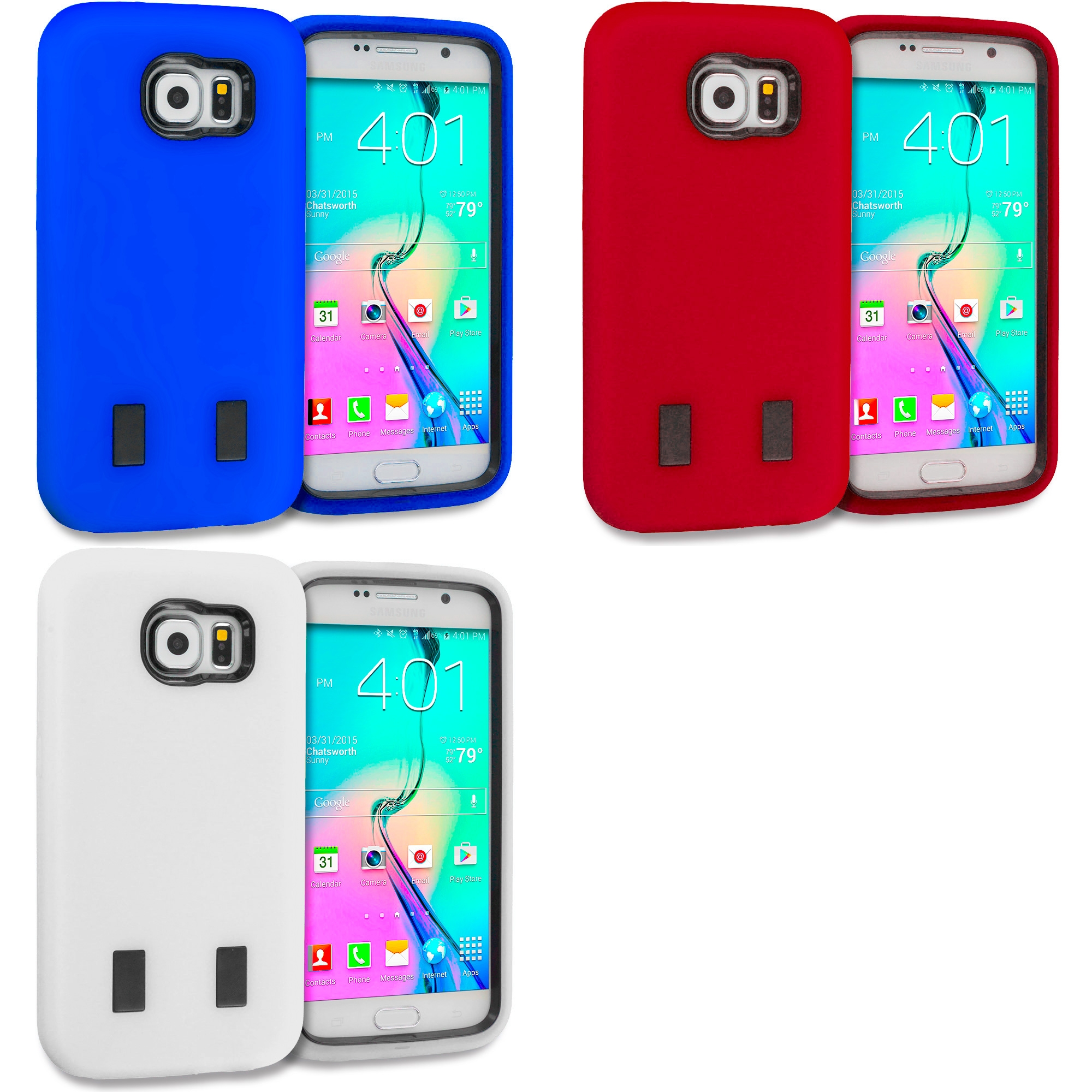 Samsung Galaxy S6 Combo Pack : Red / Black Hybrid Deluxe Hard/Soft Case Cover