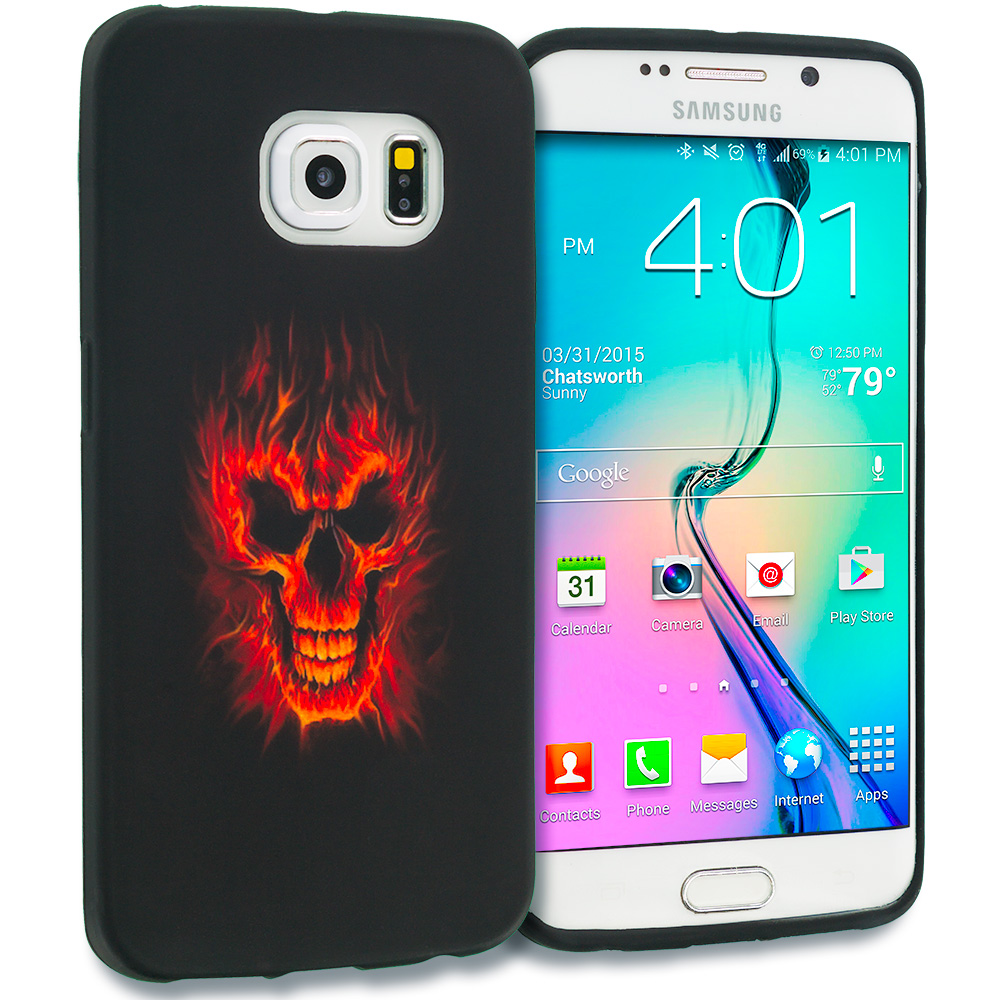 Samsung Galaxy S6 Edge Flaming Skull TPU Design Soft Rubber Case Cover