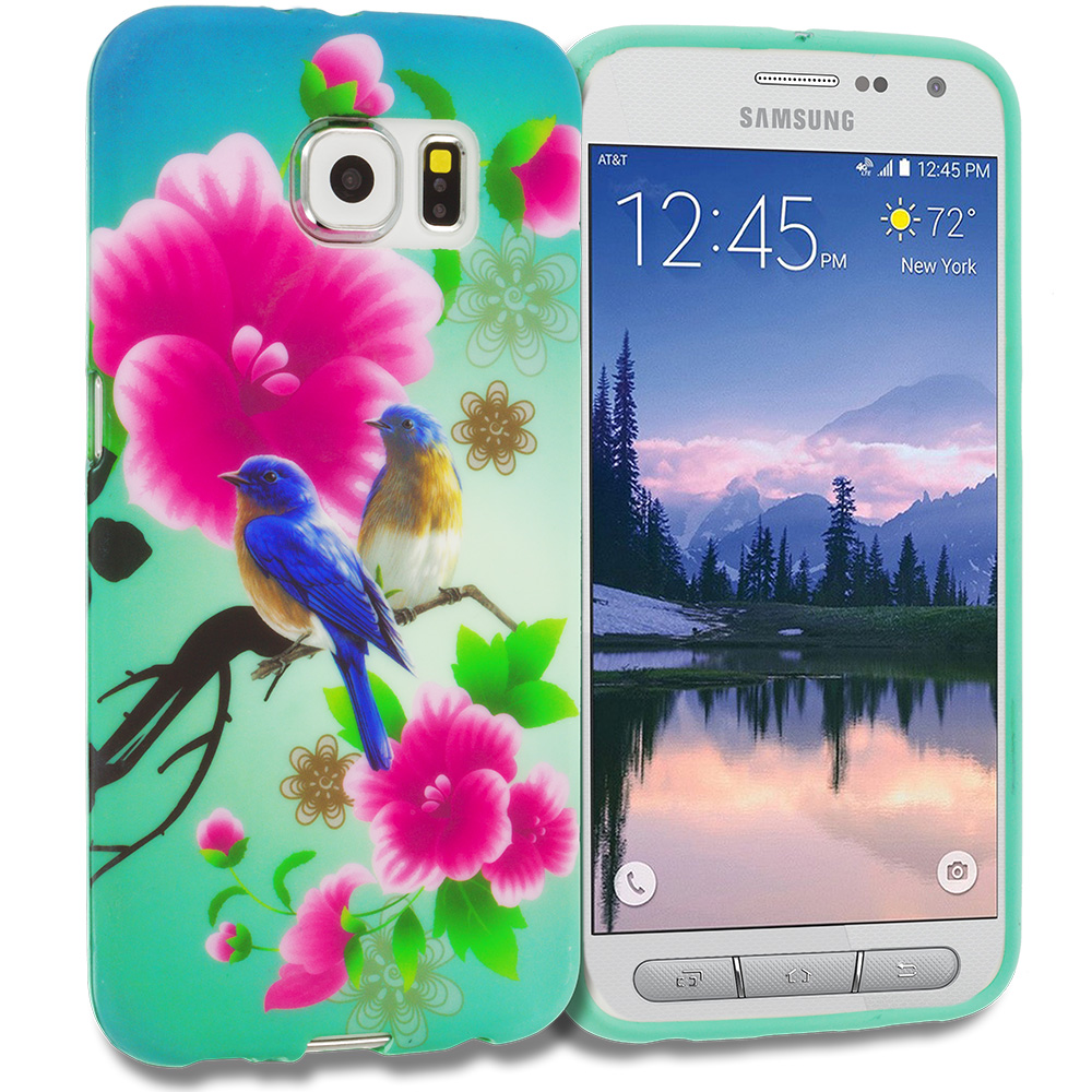 Samsung Galaxy S6 Active Blue Bird Pink Flower TPU Design Soft Rubber Case Cover