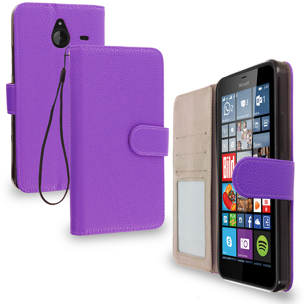 Microsoft Lumia 640 XL Purple Leather Wallet Pouch Case Cover with Slots