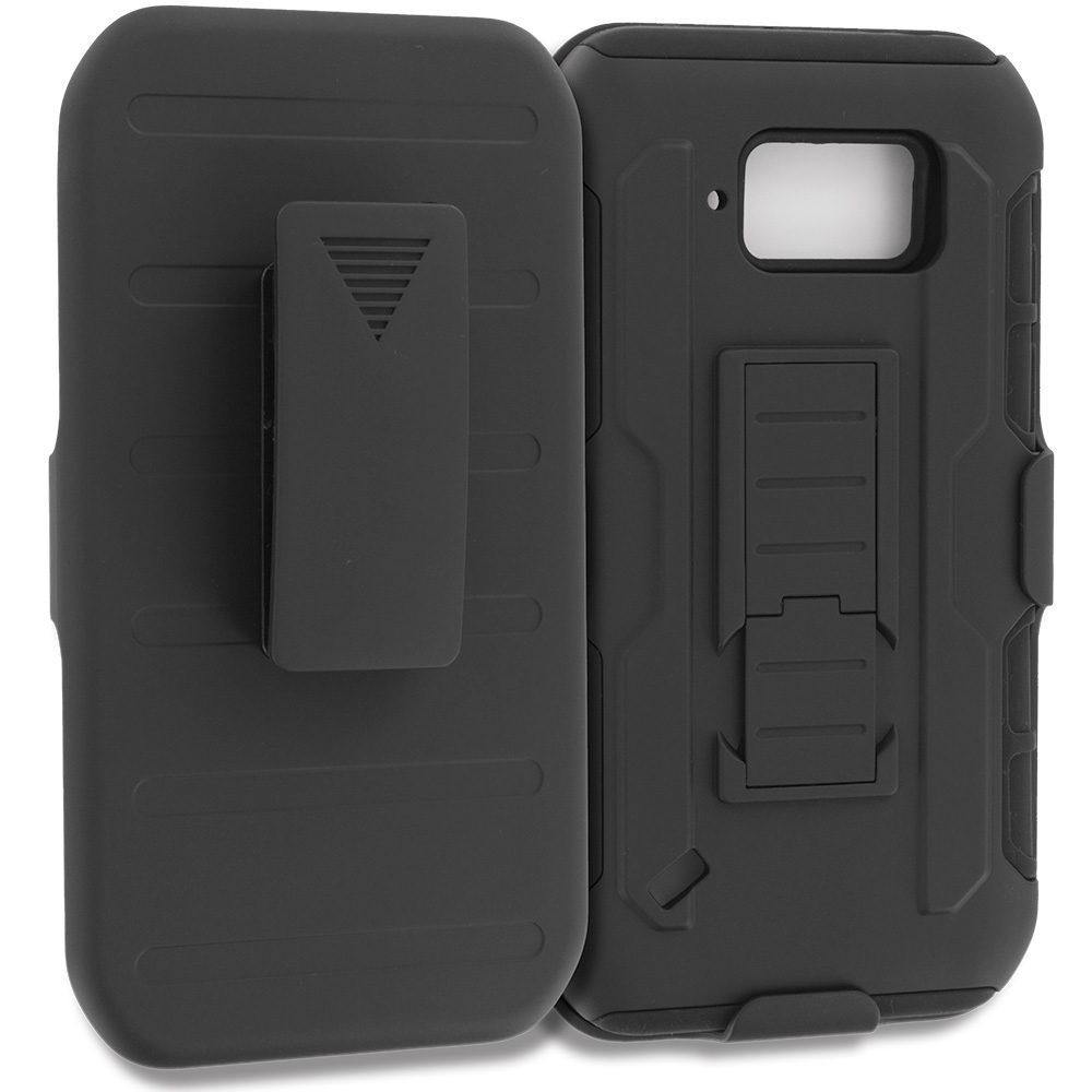 Samsung Galaxy S6 Active Black Hybrid Rugged Robot Armor Heavy Duty Case Cover with Belt Clip Holster