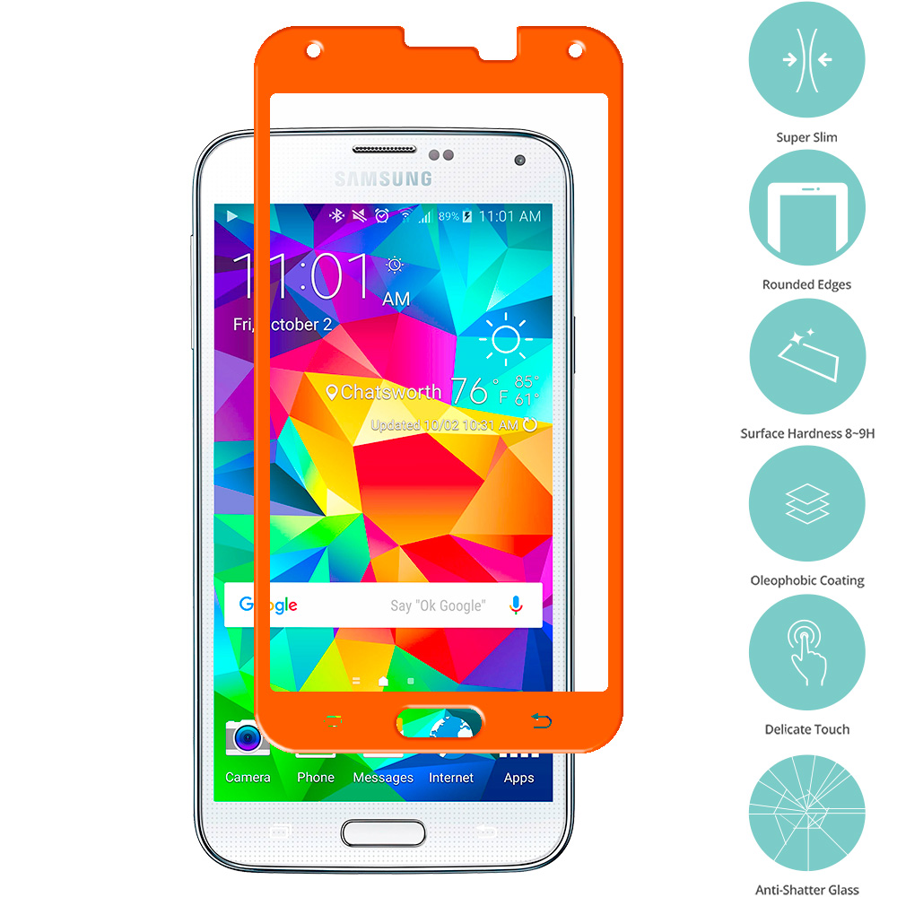 Samsung Galaxy S5 Orange Tempered Glass Film Screen Protector Colored