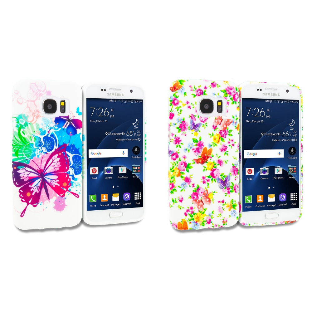 Samsung Galaxy S7 Combo Pack : Butterfly Colorful TPU Design Soft Rubber Case Cover