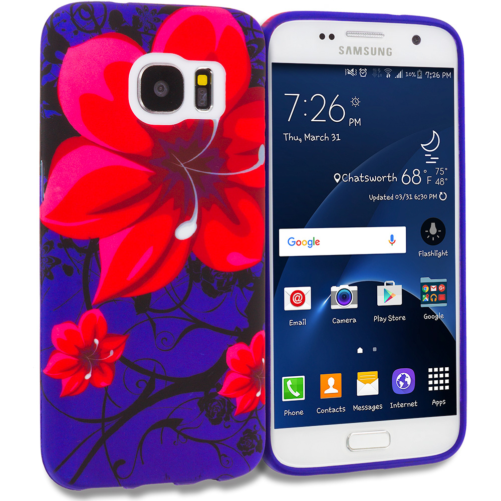 Samsung Galaxy S7 Combo Pack : Purple Dolphin TPU Design Soft Rubber Case Cover : Color Red Rose Purple