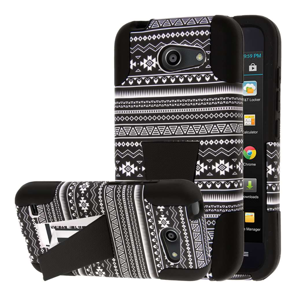 Huawei Tribute 4G LTE - Black Aztec MPERO IMPACT X - Kickstand Case Cover