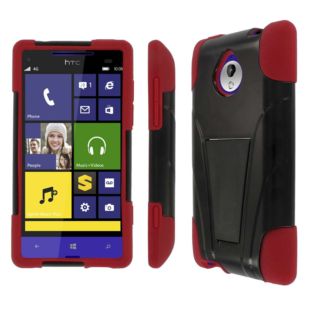 HTC 8XT - BLACK / RED MPERO IMPACT X - Kickstand Case Cover