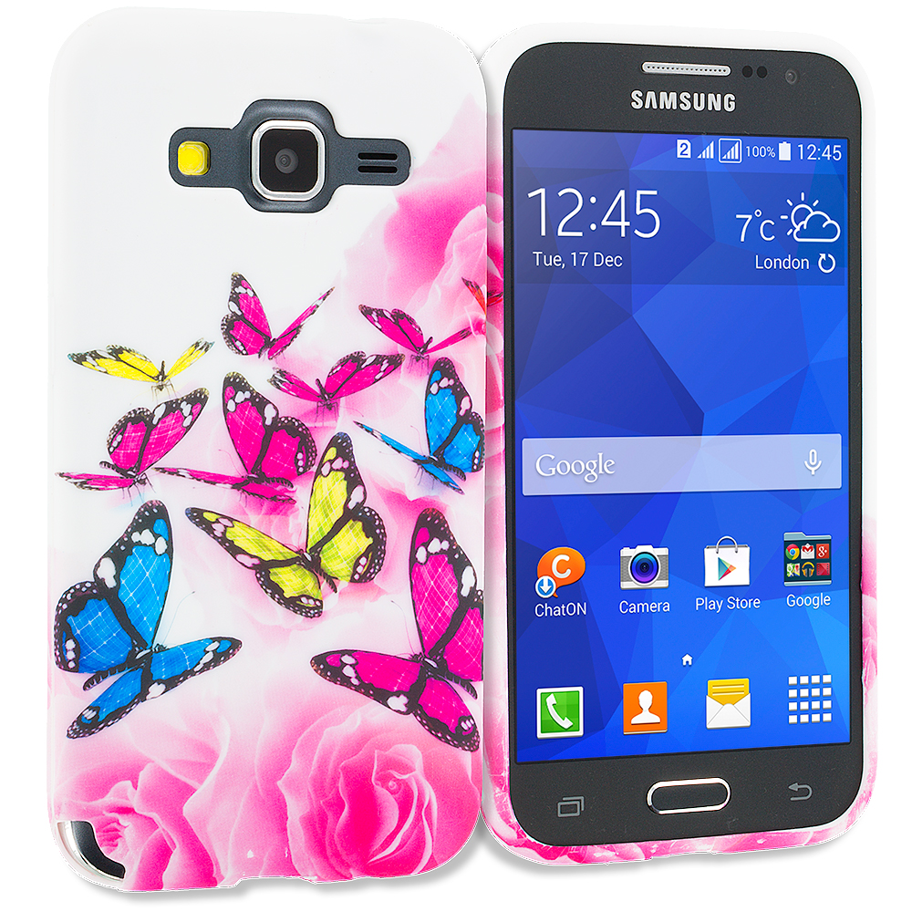 Samsung Galaxy Prevail LTE Core Prime G360P Pink Colorful Butterfly TPU Design Soft Rubber Case Cover