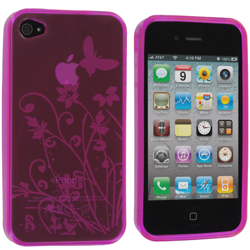 Apple iPhone 4 / 4S 2 in 1 Combo Bundle Pack - Butterfly Pink Clear TPU Rubber Skin Case Cover : Color Hot Pink Butterfly