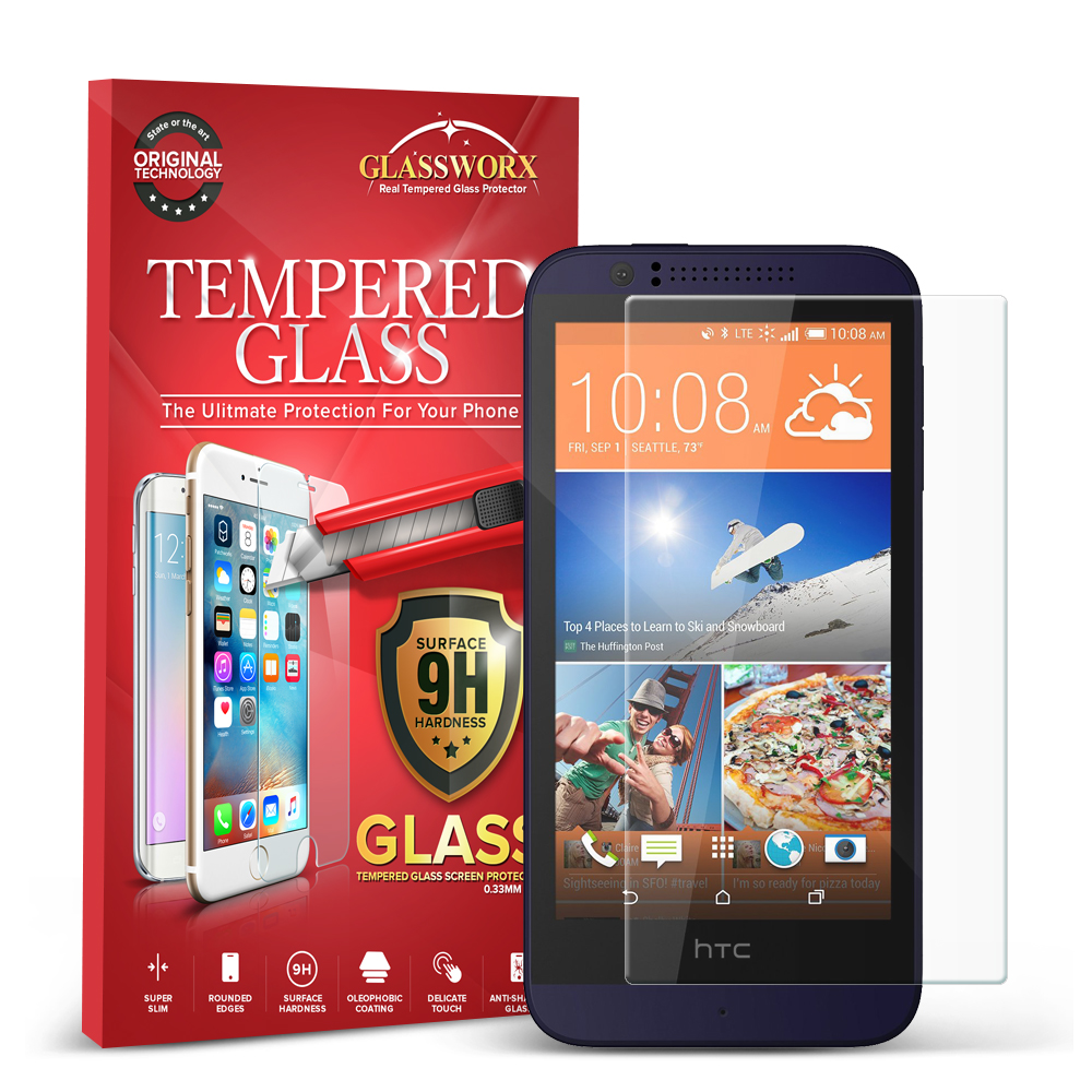 HTC Desire 510 GlassWorX HD Clear Tempered Glass Screen Protector