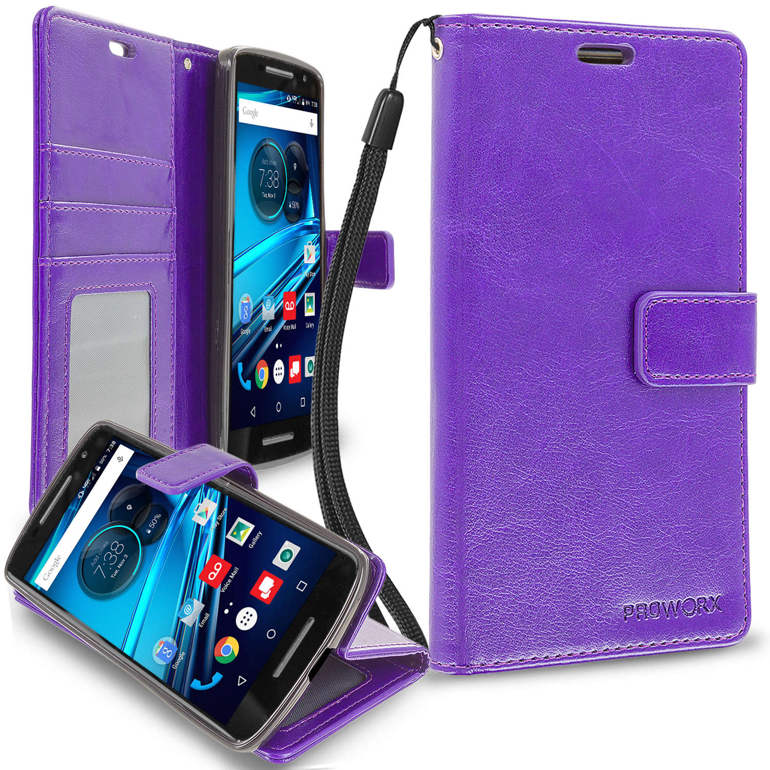 Motorola Droid Maxx 2 XT1565 Purple ProWorx Wallet Case Luxury PU Leather Case Cover With Card Slots & Stand