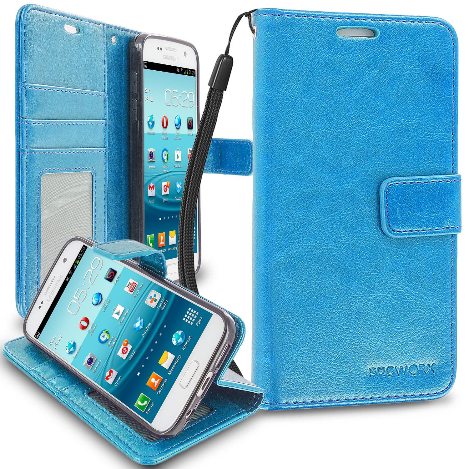 Samsung Galaxy S7 Baby Blue ProWorx Wallet Case Luxury PU Leather Case Cover With Card Slots & Stand