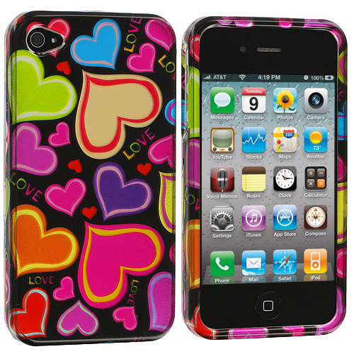 Apple iPhone 4 / 4S Rainbow Hearts Black Design Crystal Hard Case Cover
