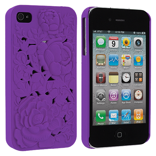 Apple iPhone 4 / 4S Purple 3D Rose Hard Rubberized Back Cover Case