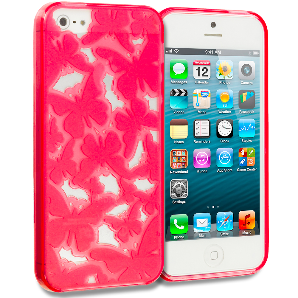 Apple iPhone 5/5S/SE Combo Pack : Orange Butterfly Cutout TPU Rubber Skin Case Cover : Color Red Butterfly Cutout