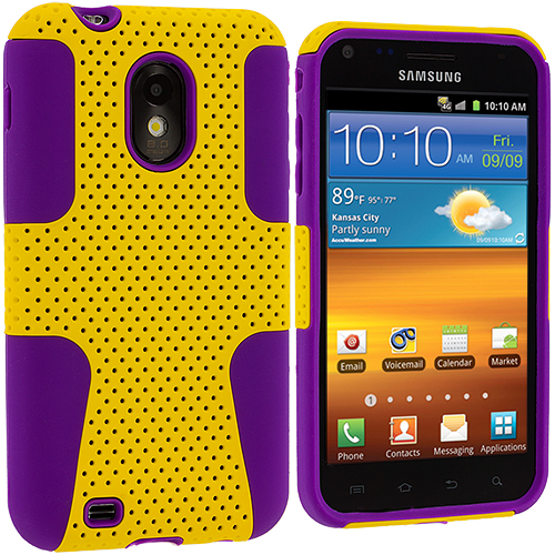 Samsung Epic Touch 4G D710 Sprint Galaxy S2 Purple / Yellow Hybrid Mesh Hard/Soft Case Cover