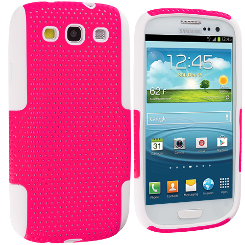 Samsung Galaxy S3 White / Hot Pink Hybrid Mesh Hard/Soft Case Cover