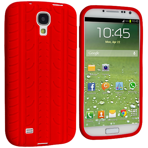Samsung Galaxy S4 Red Tire Tread Silicone Soft Skin Case Cover