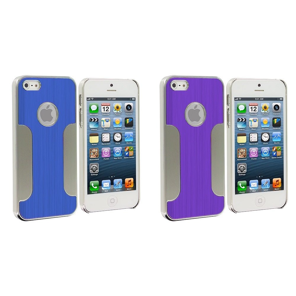 Apple iPhone 5/5S/SE Combo Pack : Blue Brushed Metal Aluminum Metal Hard Case Cover