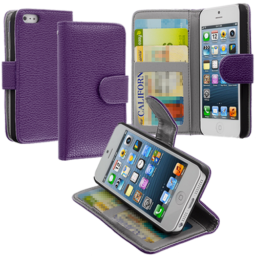 Apple iPhone 5/5S/SE Purple Texture Leather Wallet Pouch Case Cover with Slots