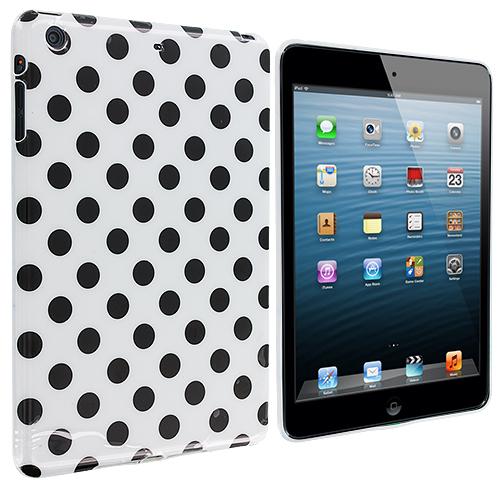 Apple iPad Mini White / Black TPU Polka Dot Skin Case Cover