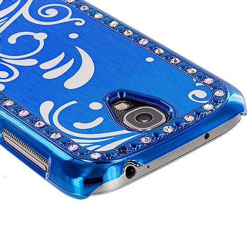 Samsung Galaxy S4 2 in 1 Combo Bundle Pack - Black Blue Diamond Luxury Flower Case Cover : Color Blue