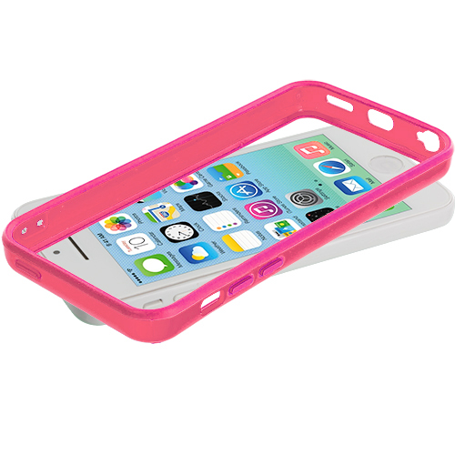Apple iPhone 5C Light Pink Solid TPU Bumper with Metal Buttons