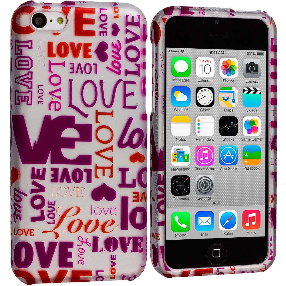 Apple iPhone 5C 2 in 1 Combo Bundle Pack - Hearts Love Hard Rubberized Design Case Cover : Color Lots Of Love