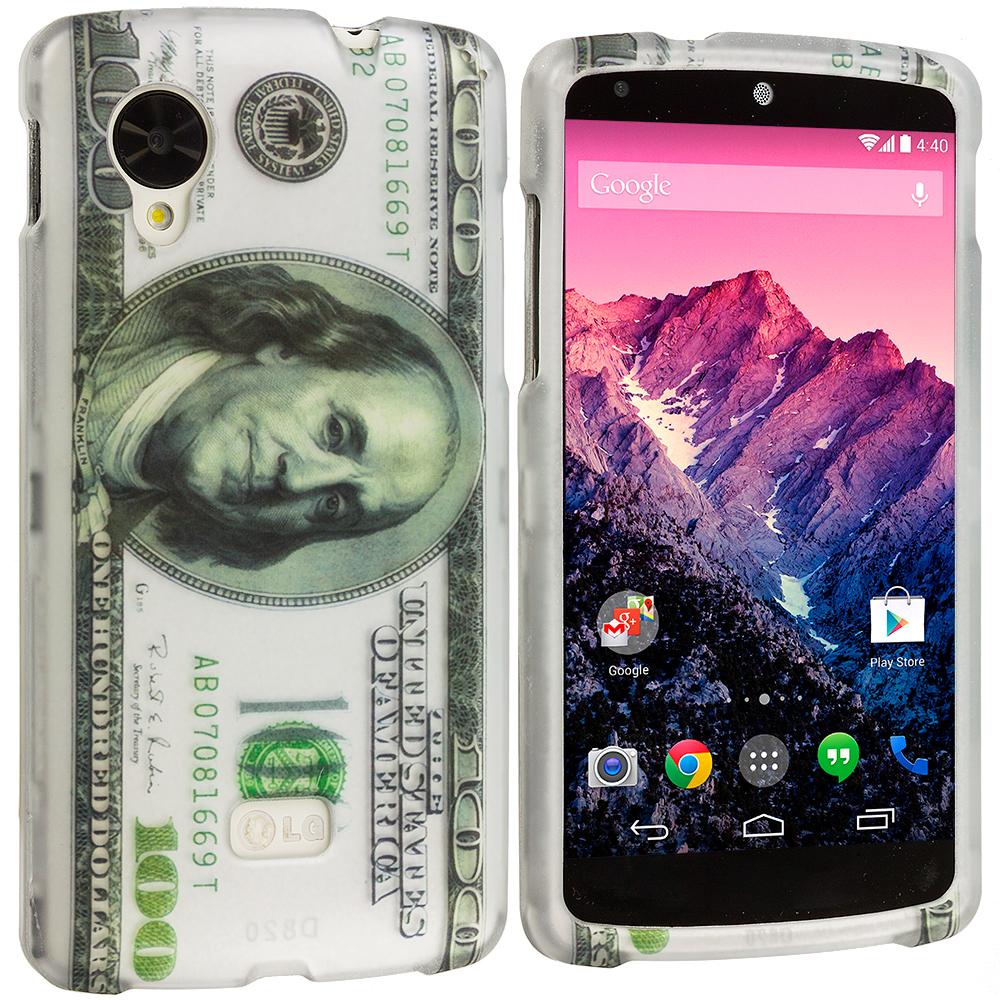 LG Google Nexus 5 Hundred Dollars Hard Rubberized Design Case Cover