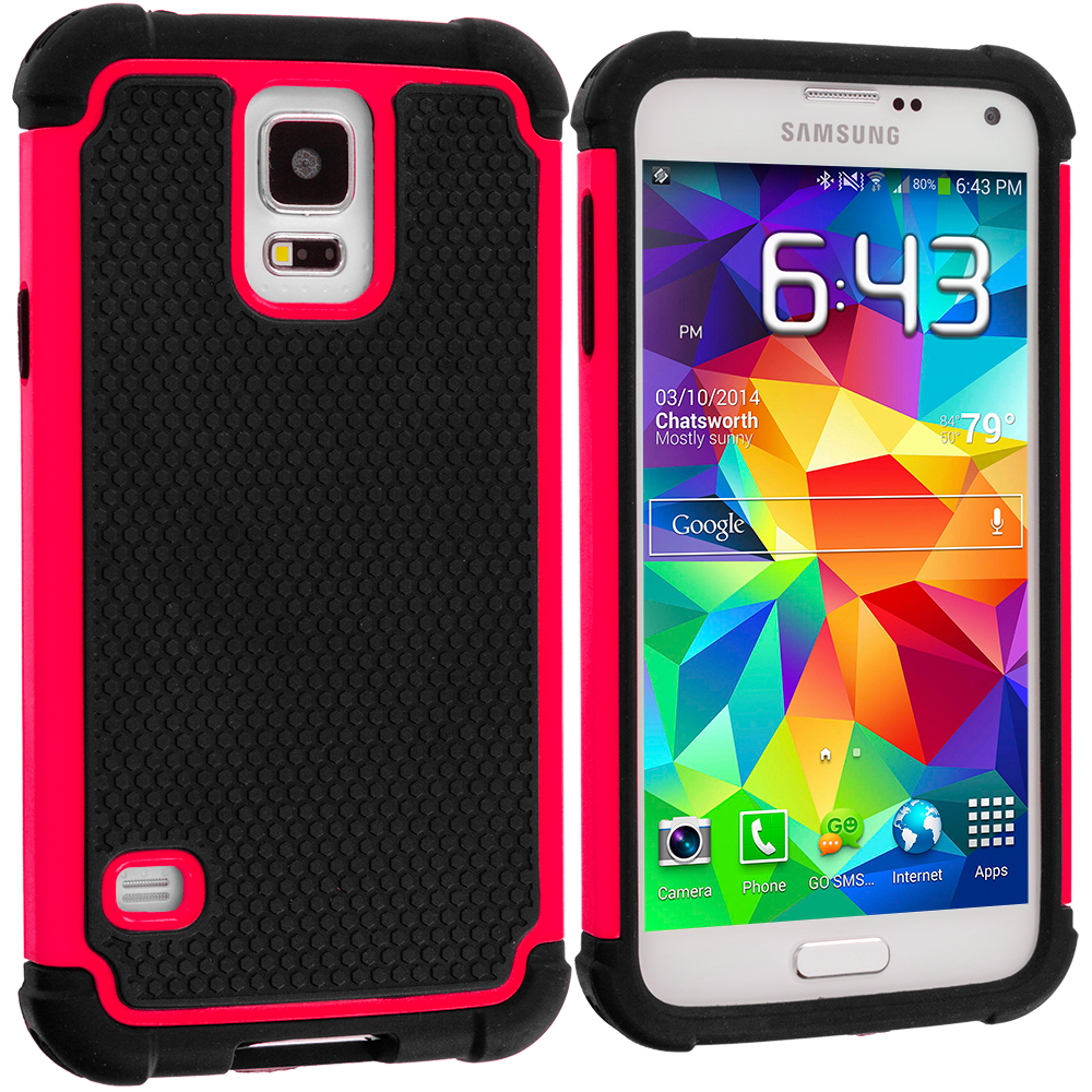 Samsung Galaxy S5 Black / Hot Pink Hybrid Rugged Hard/Soft Case Cover