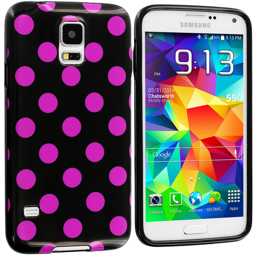 Samsung Galaxy S5 Black / Hot Pink TPU Polka Dot Skin Case Cover