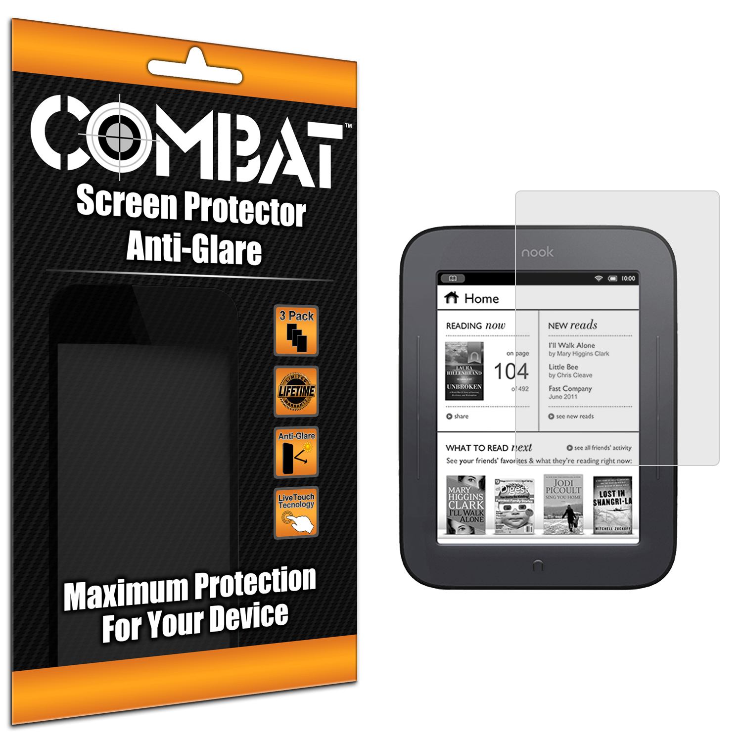 Barnes & Noble Nook Simple Touch Combat 3 Pack Anti-Glare Matte Screen Protector
