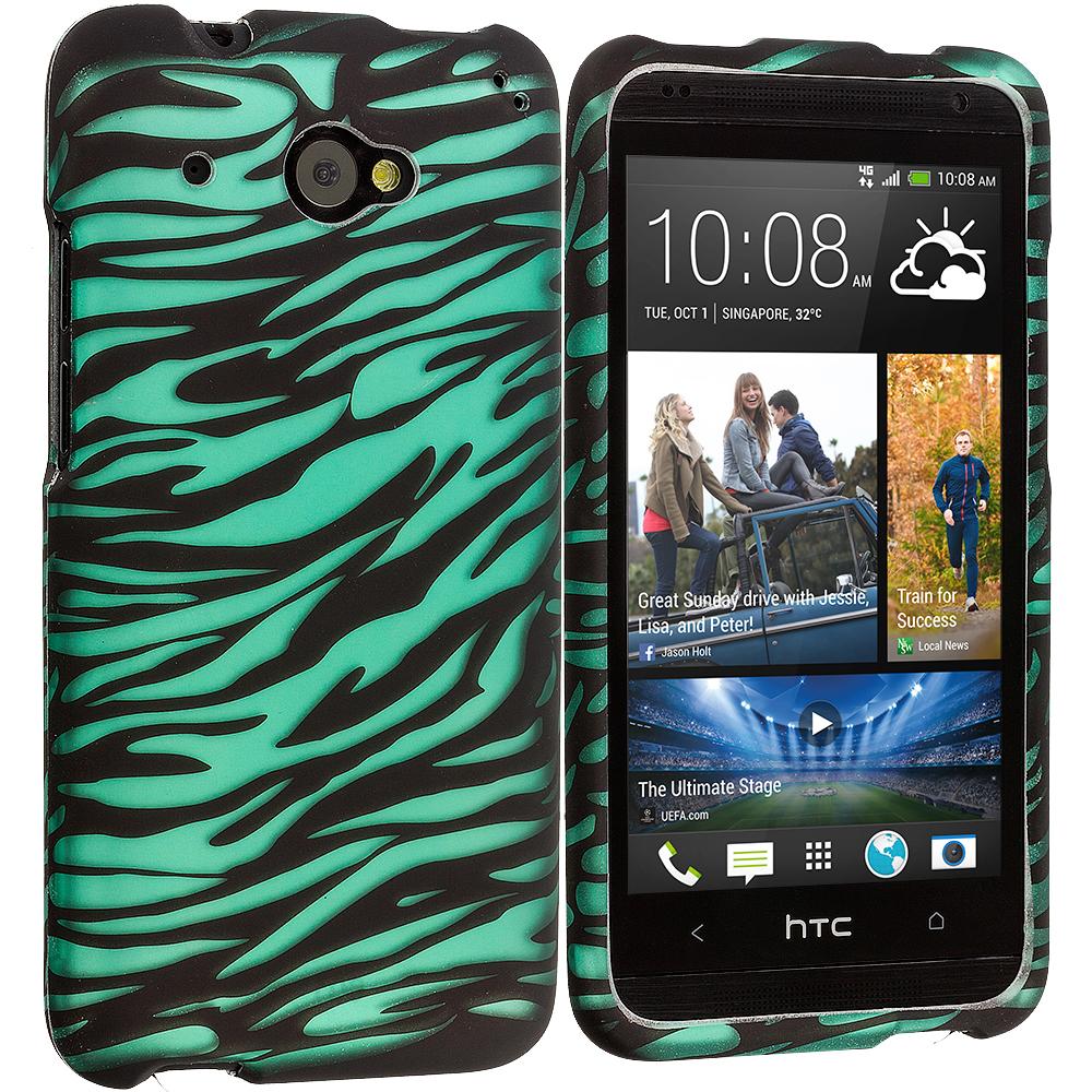 HTC Desire 601 Black/Baby Blue Zebra 2D Hard Rubberized Design Case Cover