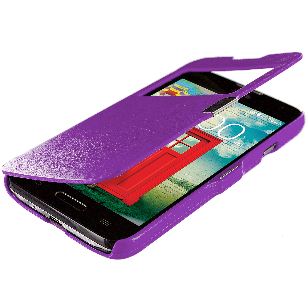 LG Optimus L90 Purple (Open Front) Magnetic Wallet Case Cover Pouch