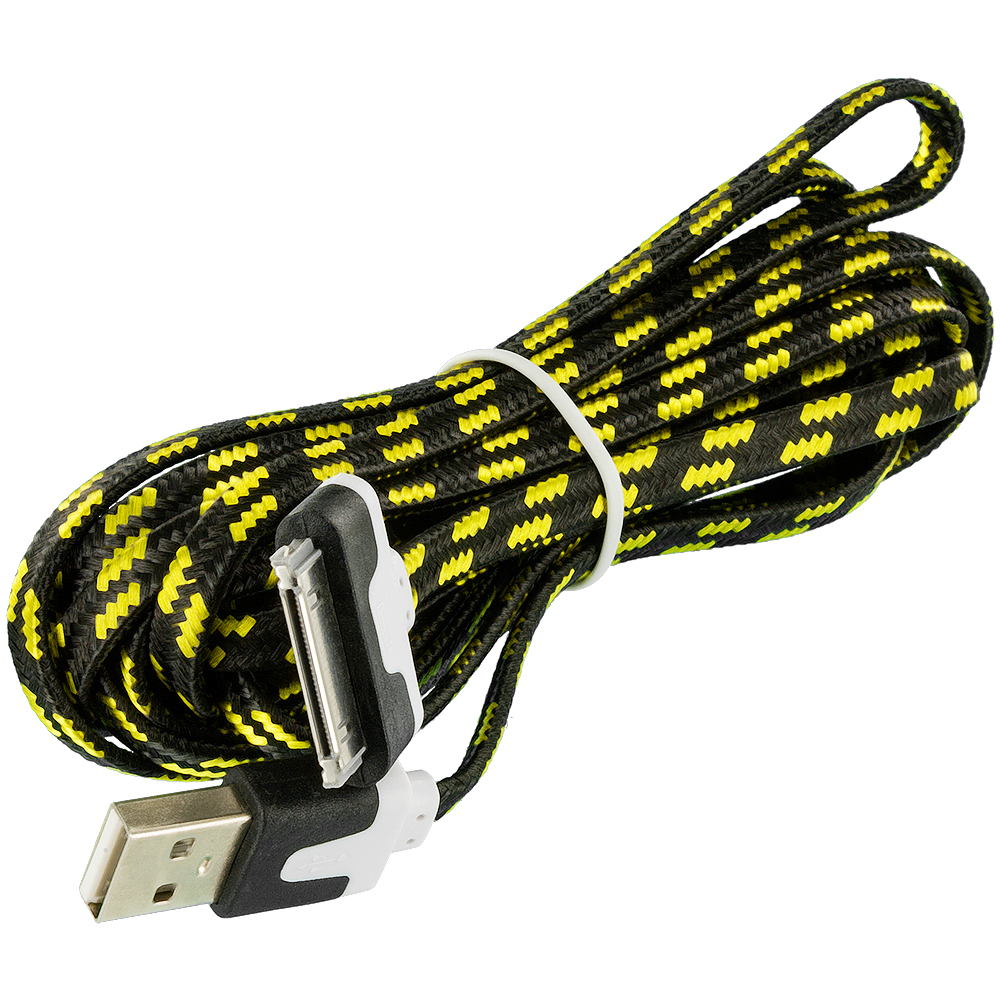 noodle rope braided usb sync data cable cord 10ft for iphone 4 4s 3gs ipod touch ebay. Black Bedroom Furniture Sets. Home Design Ideas