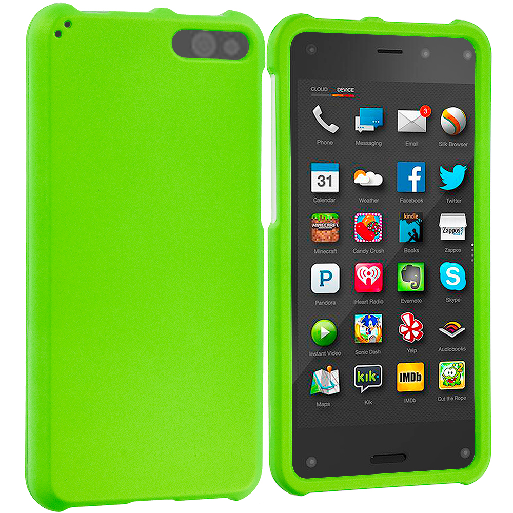 Amazon Fire Phone Neon Green Hard Rubberized Case Cover