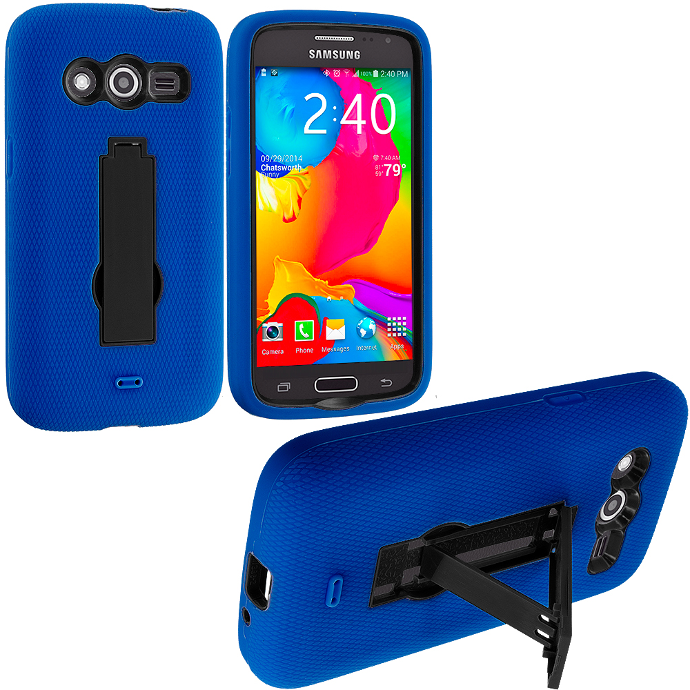 Samsung Galaxy Avant G386 Blue / Black Hybrid Heavy Duty Impact Case Cover with Stand