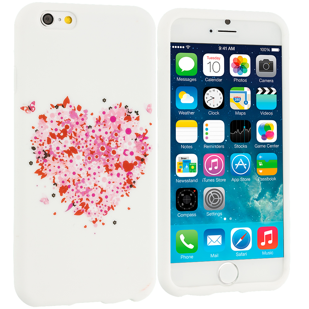 Apple iPhone 6 Plus 6S Plus (5.5) Hearts Full of Flowers White TPU Design Soft Rubber Case Cover