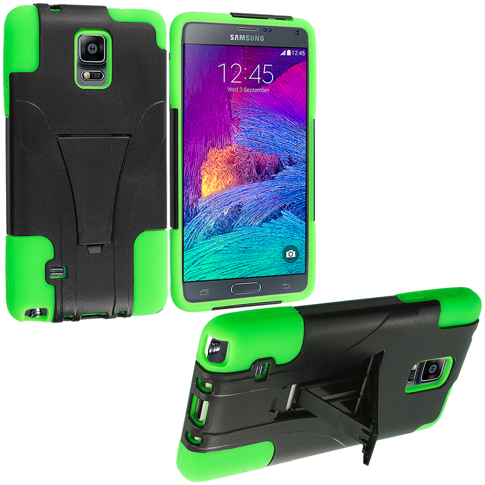 Samsung Galaxy Note 4 Black / Neon Green Hybrid Hard Soft Shockproof Case Cover with Kickstand