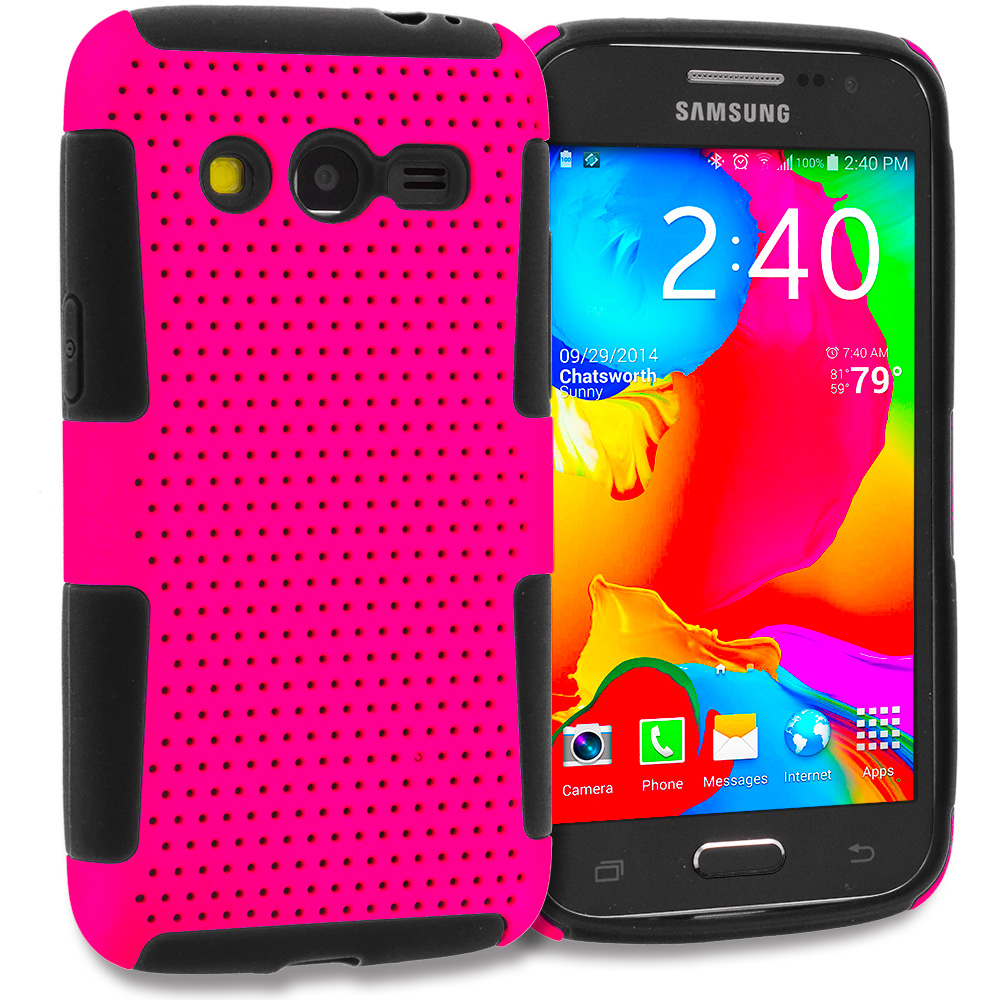 Samsung Galaxy Avant G386 Black / Hot Pink Hybrid Mesh Hard/Soft Case Cover