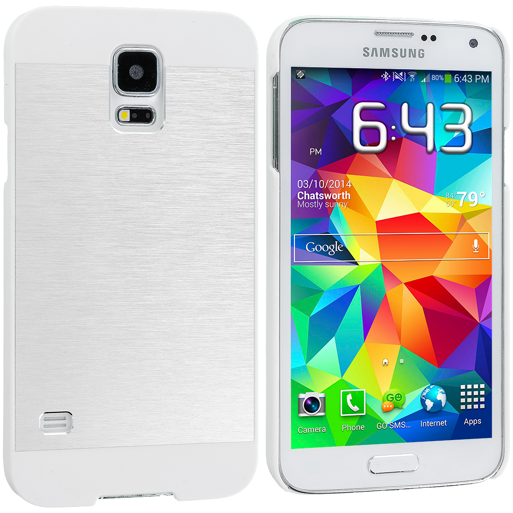 Samsung Galaxy S5 Silver / White Hybrid Luxury Aluminum Hard Case Cover