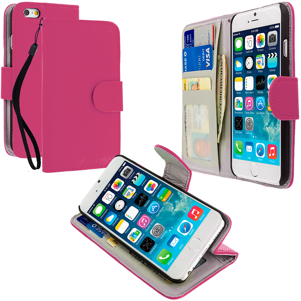 Apple iPhone 6 Plus 6S Plus (5.5) Hot Pink Leather Wallet Pouch Case Cover with Slots