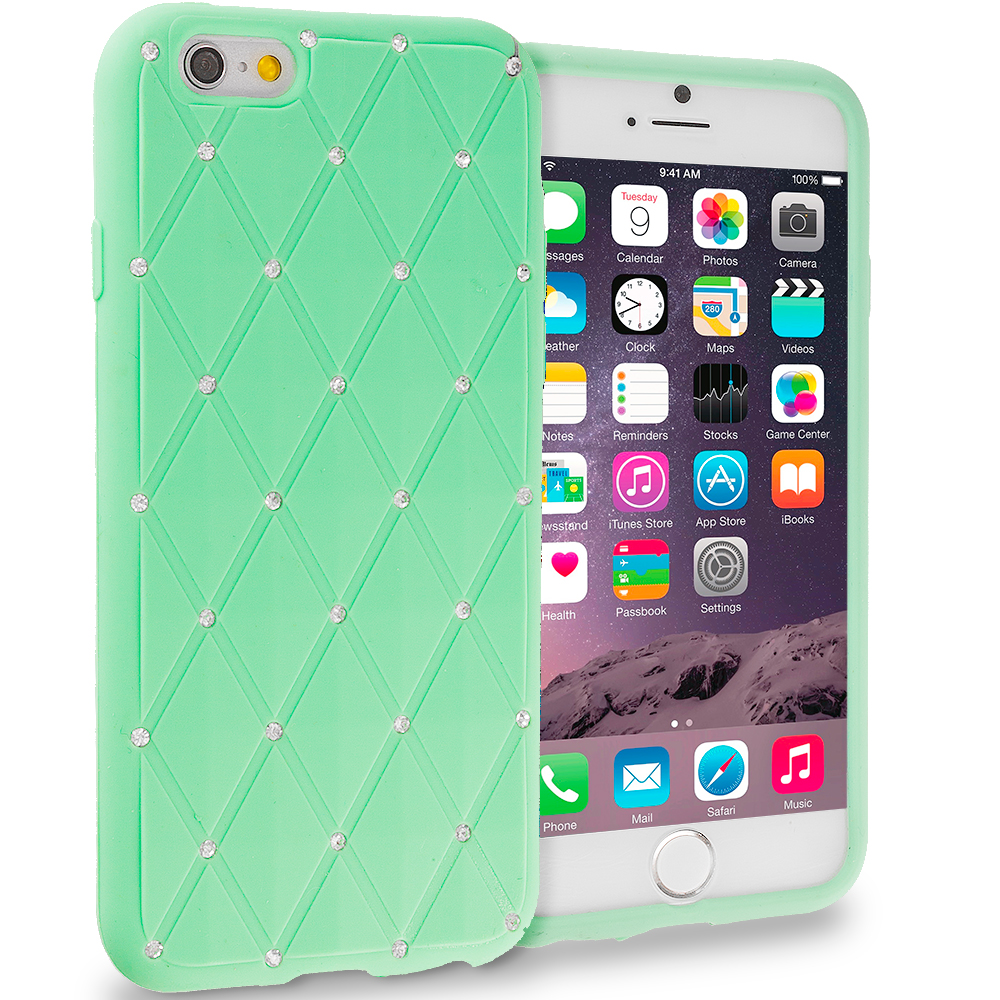 Apple iPhone 6 6S (4.7) Teal Diamond Bling Silicone Soft Rubber Skin Case Cover