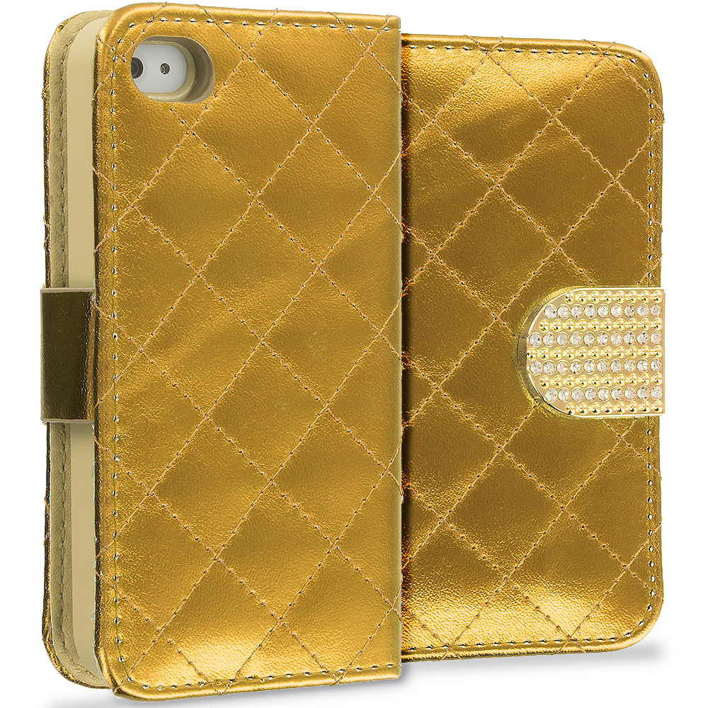 Apple iPhone 4 / 4S Gold Luxury Wallet Diamond Design Case Cover With Slots